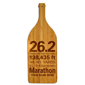 Wine Bottle Laser Engraved Bamboo Cutting Board 26.2 Math Miles