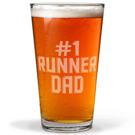 16 oz Beer Pint Glass #1 Runner Dad