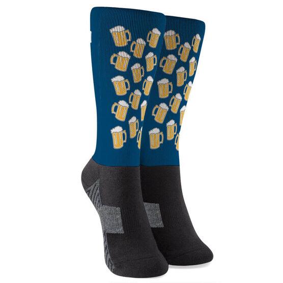 Running Printed Mid-Calf Socks - Will Run For Beer