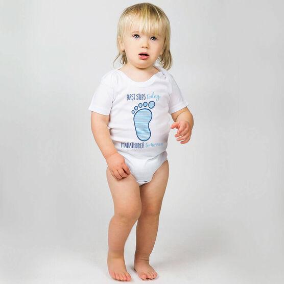 Running Baby One-Piece - First Steps Today, Marathoner Tomorrow