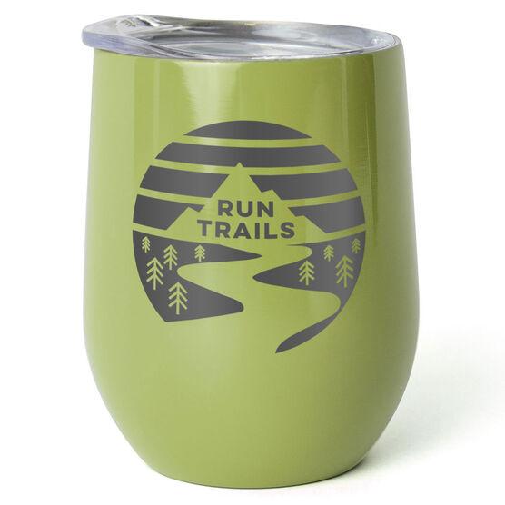 Running Stainless Steel Wine Tumbler - Run Trails Sunset
