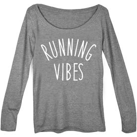 Women's Runner Scoop Neck Long Sleeve Tee - Running Vibes