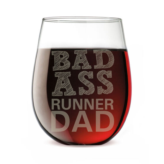 Stemless Wine Glass Bad Ass Runner Dad