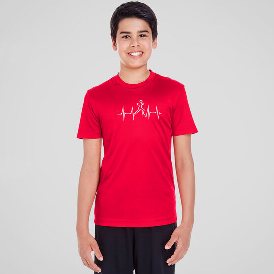 Men's Running Short Sleeve Tech Tee - Heart Beat Male Runner