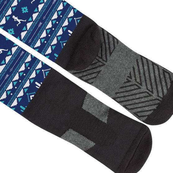 Running Printed Knee-High Socks - Running Girl Tribal