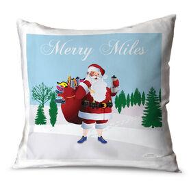 Running Throw Pillow Running Santa