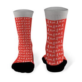 Running Printed Mid Calf Socks Run Girl Silhouette Pattern