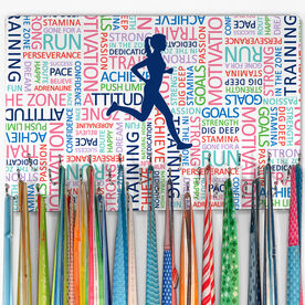 Running Large Hooked on Medals Hanger - Inspirational Words Female