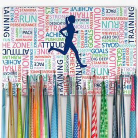 Running Large Hooked on Medals Hanger - Inspirational Words Female