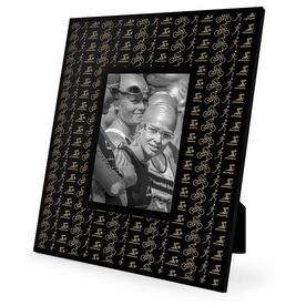 Triathlon Engraved Picture Frame - Swim Bike Run Icons Repeat