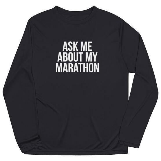 Men's Running Long Sleeve Tech Tee - Ask Me About My Marathon