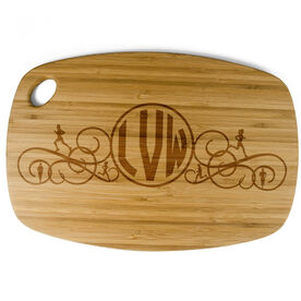 Rectangle Laser Engraved Bamboo Cutting Board Monogram with Silhouettes