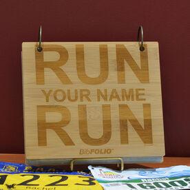 Engraved Bamboo Wood BibFOLIO Run Your Name Run