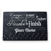 Running Large Hooked on Medals Hanger - Courage To Start Chalkboard