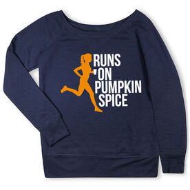 Running Fleece Wide Neck Sweatshirt - Runs On Pumpkin Spice