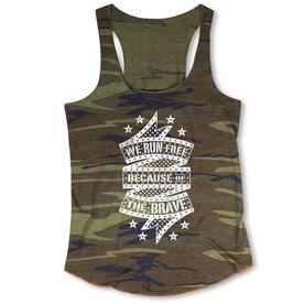 Running Camouflage Racerback Tank Top - We Run Free Because Of The Brave Ribbon