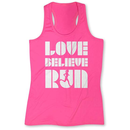 Women's Performance Tank Top - Love Believe Run