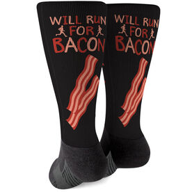 Running Printed Mid-Calf Socks - Will Run For Bacon