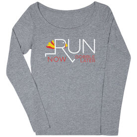 Women's Runner Scoop Neck Long Sleeve Tee - Let's Run Now Gobble Later