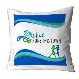 Running Throw Pillow - She Runs This Town