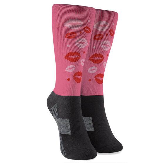 Running Printed Mid-Calf Socks - Kiss Me I Run with Lip Pattern