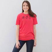 Triathlon Short Sleeve T-Shirt - Swim Bike Run Black Stick Figure with Words