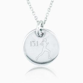 Sterling Silver 13.1 Half Marathon Runner Engraved 20mm Pendant Necklace