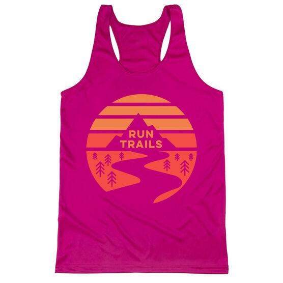 Women's Racerback Performance Tank Top - Run Trails Sunset