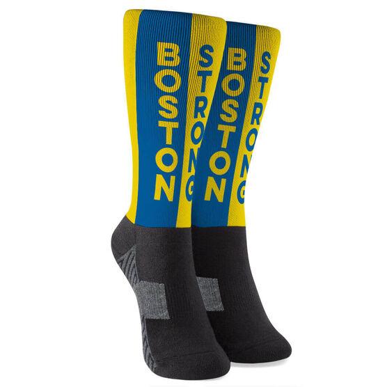 Running Printed Mid-Calf Socks - Boston Strong