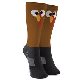 Printed Mid-Calf Socks - Goofy Turkey