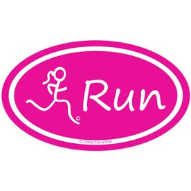 Run Girl Car Magnet - Pink (Horizontal)