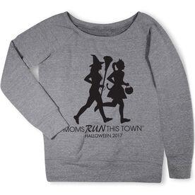 Running Fleece Wide Neck Sweatshirt - Moms Run This Town Halloween (2017)