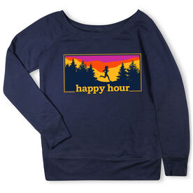 Running Fleece Wide Neck Sweatshirt - Happy Hour [Navy/Adult Medium] - SS