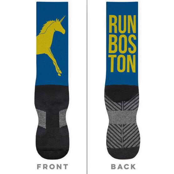 Running Printed Mid-Calf Socks - Boston Unicorn