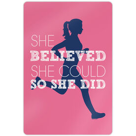 """Running 18"""" X 12"""" Aluminum Room Sign - She Believed She Could So She Did (Silhouette)"""