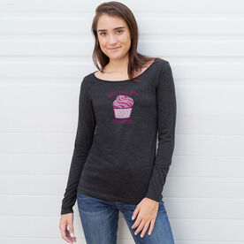 Women's Runner Scoop Neck Long Sleeve Tee Will Run For Cupcakes