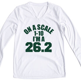 Women's Customized White Long Sleeve Tech Tee On A Scale of 1 - 10 I'm a 26.2