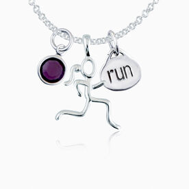 Sterling Silver Stick Figure Runner and Run Charm Necklace