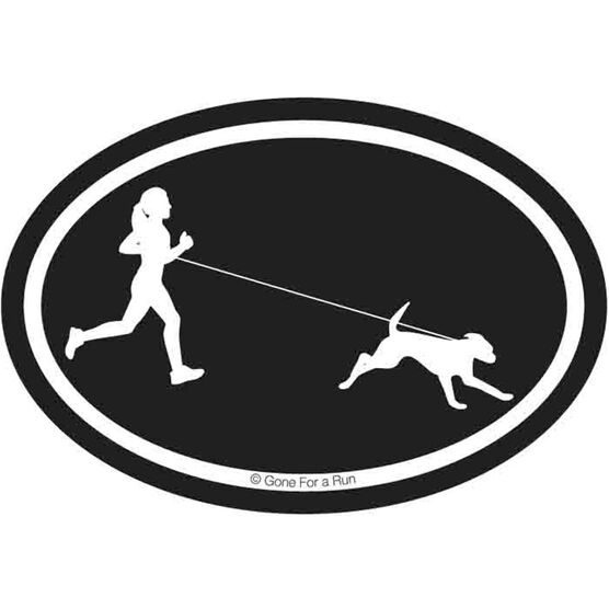 Runner Girl with Dog Decal (Black/White)