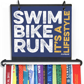 BibFOLIO Plus Race Bib and Medal Display - Swim Bike Run It's A Lifestyle