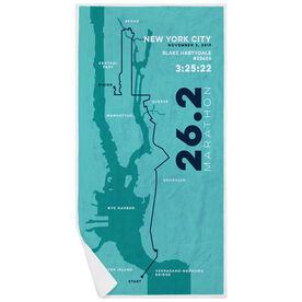 Running Premium Beach Towel - Personalized New York City Map