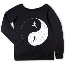 Running Fleece Wide Neck Sweatshirt - Runner Girl Yin Yang