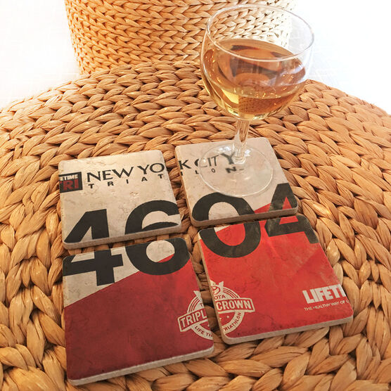 Personalized Stone Coaster Set of Four - Your Tri Bib on Set of 4 Coasters BibCOASTERS