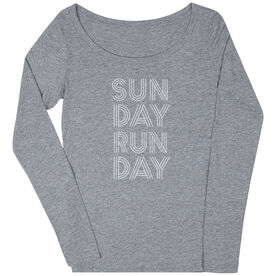 Women's Runner Scoop Neck Long Sleeve Tee - Sunday Runday (Stacked)