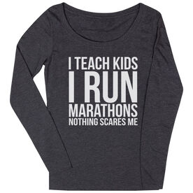 Women's Runner Scoop Neck Long Sleeve Tee- I Teach Kids I Run Marathons