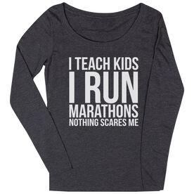 1d93b06c7 Women's Runner Scoop Neck Long Sleeve Tee- I Teach Kids I Run Marathons