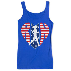 Running Women's Athletic Tank Top - Patriotic Heart
