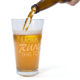 Running 16 oz Beer Pint Glass - Moms Run This Town Stacked