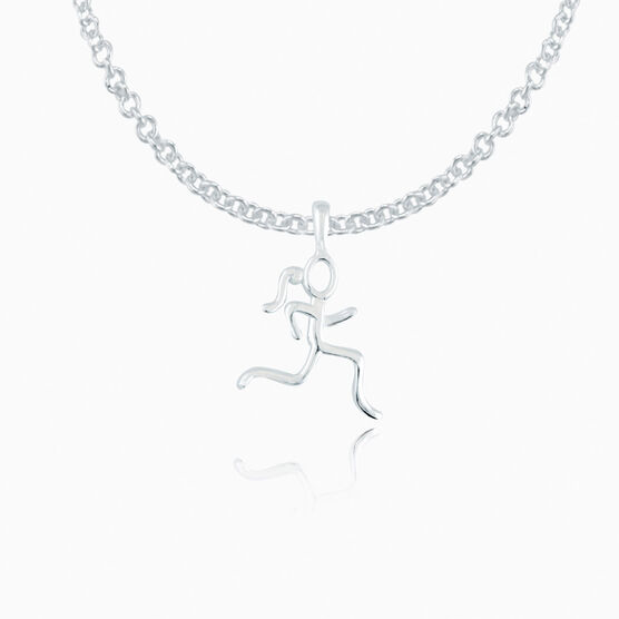 Sterling Silver Mini Stick Figure Runner Necklace