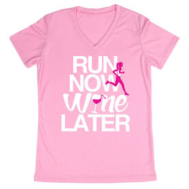 Women's Running Short Sleeve Tech Tee Run Now Wine Later (Bold)